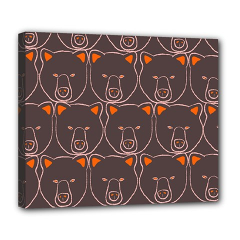 Bears Pattern Deluxe Canvas 24  X 20   by Nexatart