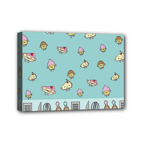 Kawaii Kitchen Border Mini Canvas 7  X 5