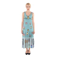 Kawaii Kitchen Border Sleeveless Maxi Dress