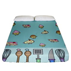 Kawaii Kitchen Border Fitted Sheet (king Size) by Nexatart