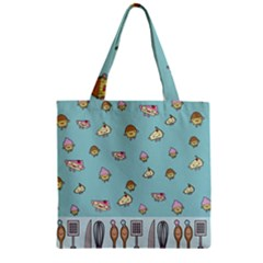 Kawaii Kitchen Border Zipper Grocery Tote Bag by Nexatart