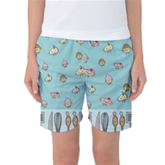 Kawaii Kitchen Border Women s Basketball Shorts by Nexatart
