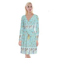 Kawaii Kitchen Border Long Sleeve Velvet Front Wrap Dress by Nexatart