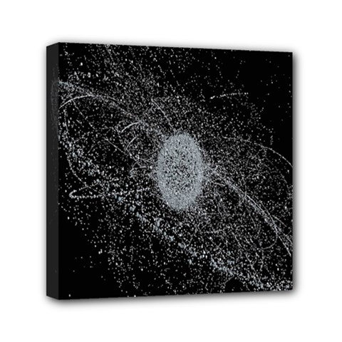 Space X Circle Line Black Mini Canvas 6  X 6  by Mariart