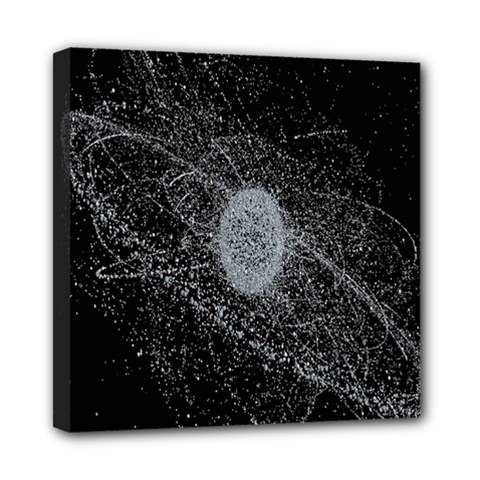 Space X Circle Line Black Mini Canvas 8  X 8  by Mariart