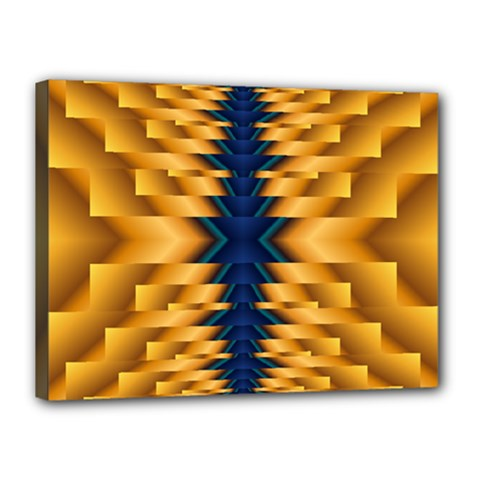 Plaid Blue Gold Wave Chevron Canvas 16  X 12  by Mariart