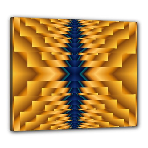 Plaid Blue Gold Wave Chevron Canvas 24  X 20  by Mariart