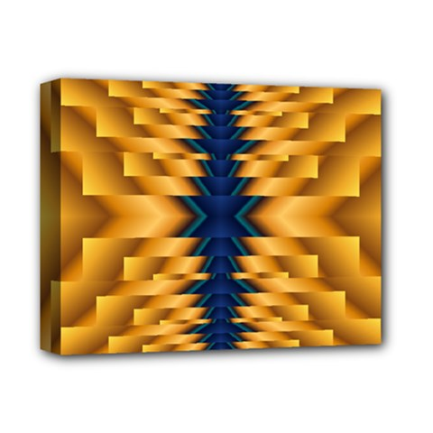 Plaid Blue Gold Wave Chevron Deluxe Canvas 14  X 11  by Mariart