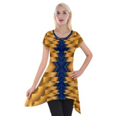 Plaid Blue Gold Wave Chevron Short Sleeve Side Drop Tunic by Mariart
