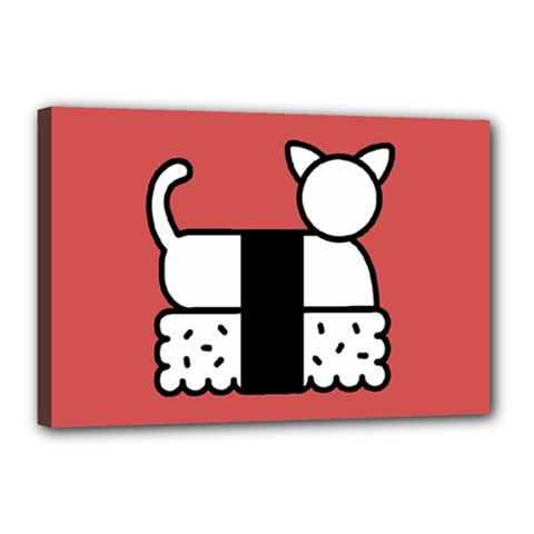 Sushi Cat Japanese Food Canvas 18  X 12  by Mariart