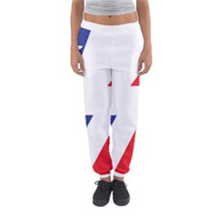 Three Colors Blue White Line Star Women s Jogger Sweatpants by Mariart