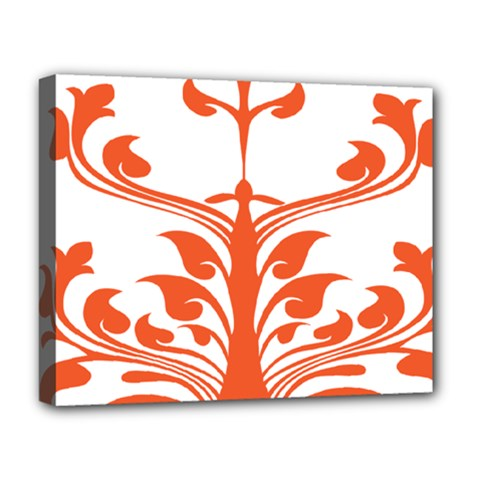 Tree Leaf Flower Orange Sexy Star Deluxe Canvas 20  X 16   by Mariart