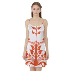 Tree Leaf Flower Orange Sexy Star Satin Night Slip by Mariart