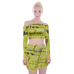 Horror Vampire Kawaii Off Shoulder Top With Skirt Set