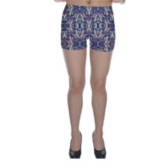 Multicolored Modern Geometric Pattern Skinny Shorts