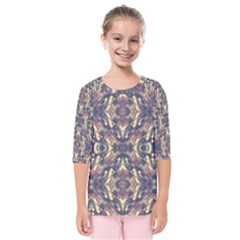 Multicolored Modern Geometric Pattern Kids  Quarter Sleeve Raglan Tee