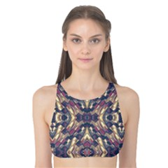 Multicolored Modern Geometric Pattern Tank Bikini Top