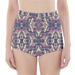 Multicolored Modern Geometric Pattern High Waisted Bikini Bottoms