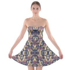 Multicolored Modern Geometric Pattern Strapless Bra Top Dress