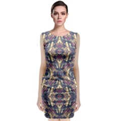 Multicolored Modern Geometric Pattern Classic Sleeveless Midi Dress