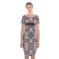 Multicolored Modern Geometric Pattern Classic Short Sleeve Midi Dress
