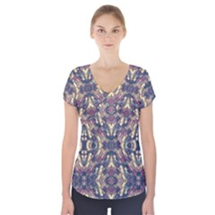 Multicolored Modern Geometric Pattern Short Sleeve Front Detail Top