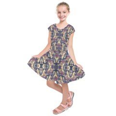 Multicolored Modern Geometric Pattern Kids  Short Sleeve Dress
