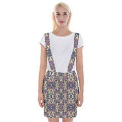 Multicolored Modern Geometric Pattern Braces Suspender Skirt
