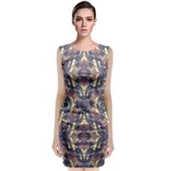 Multicolored Modern Geometric Pattern Sleeveless Velvet Midi Dress