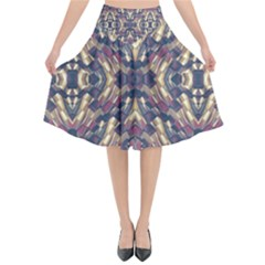Multicolored Modern Geometric Pattern Flared Midi Skirt