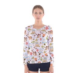 Cute Owl Women s Long Sleeve Tee