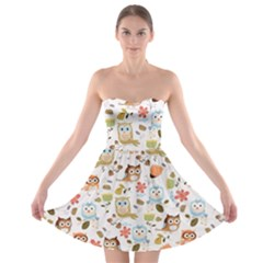 Cute Owl Strapless Bra Top Dress by Nexatart