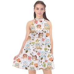 Cute Owl Halter Neckline Chiffon Dress