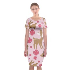 Preety Deer Cute Classic Short Sleeve Midi Dress by Nexatart