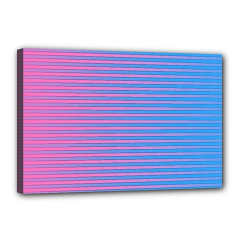 Turquoise Pink Stripe Light Blue Canvas 18  X 12  by Mariart