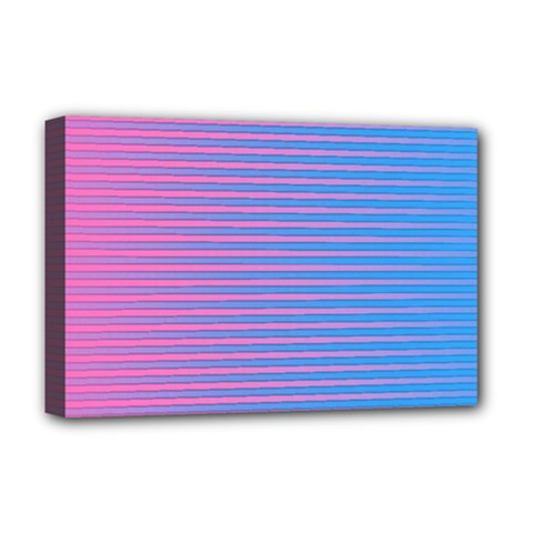 Turquoise Pink Stripe Light Blue Deluxe Canvas 18  X 12   by Mariart
