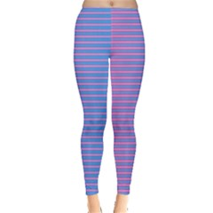Turquoise Pink Stripe Light Blue Leggings  by Mariart