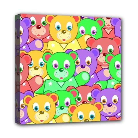 Cute Cartoon Crowd Of Colourful Kids Bears Mini Canvas 8  X 8  by Nexatart