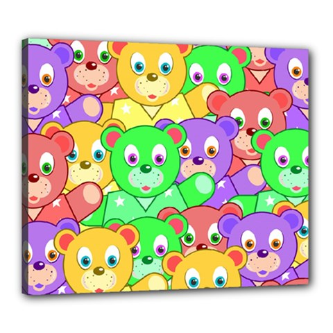 Cute Cartoon Crowd Of Colourful Kids Bears Canvas 24  X 20  by Nexatart