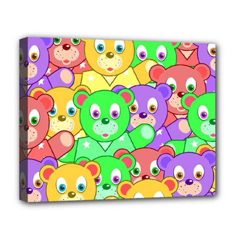Cute Cartoon Crowd Of Colourful Kids Bears Deluxe Canvas 20  X 16   by Nexatart