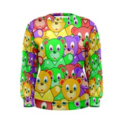 Cute Cartoon Crowd Of Colourful Kids Bears Women s Sweatshirt by Nexatart