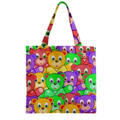 Cute Cartoon Crowd Of Colourful Kids Bears Zipper Grocery Tote Bag by Nexatart