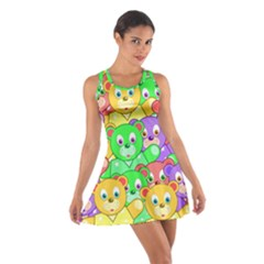 Cute Cartoon Crowd Of Colourful Kids Bears Cotton Racerback Dress
