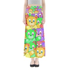 Cute Cartoon Crowd Of Colourful Kids Bears Maxi Skirts