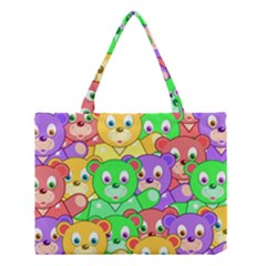 Cute Cartoon Crowd Of Colourful Kids Bears Medium Tote Bag by Nexatart