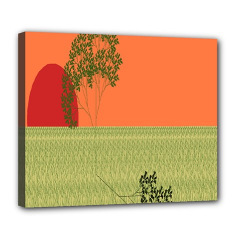 Sunset Orange Green Tree Sun Red Polka Deluxe Canvas 24  X 20   by Mariart