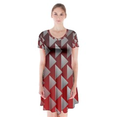 Netflix Play Button Pattern Short Sleeve V Neck Flare Dress