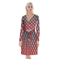 Netflix Play Button Pattern Long Sleeve Velvet Front Wrap Dress