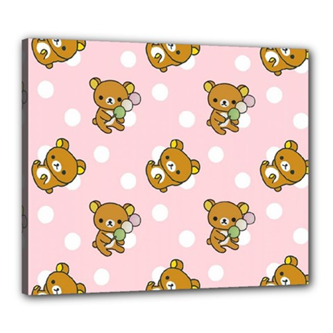Kawaii Bear Pattern Canvas 24  X 20  by Nexatart