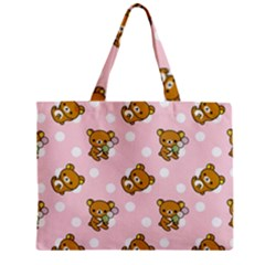 Kawaii Bear Pattern Zipper Mini Tote Bag